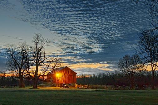 Red Barn At Dawn 20110426