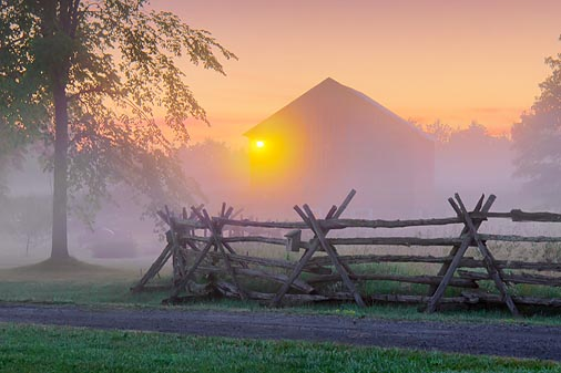 Red Barn In Misty Dawn 11823-7