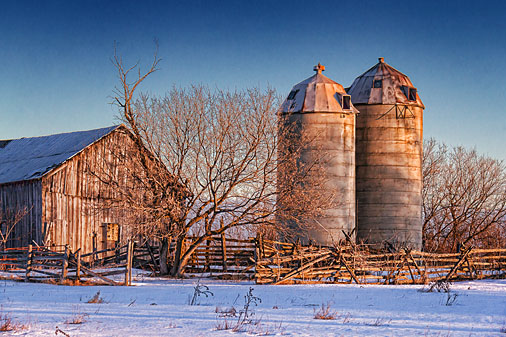 Two Silos At Sunrise 21486