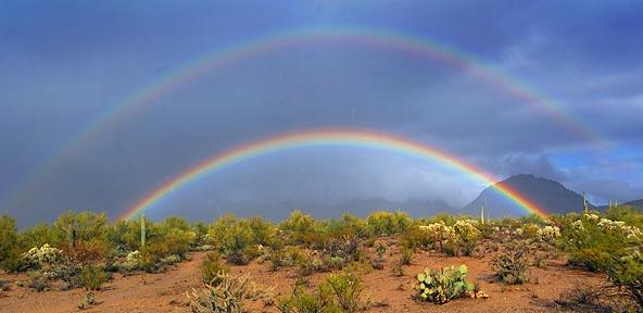 Desert Double Rainbow Panorama 20071211