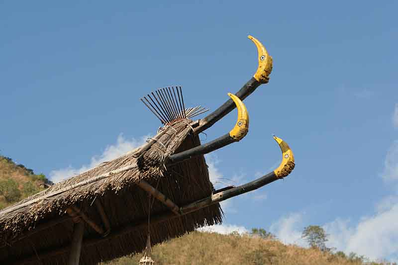 Hornbill decoration at the top of a morung in Kisama.