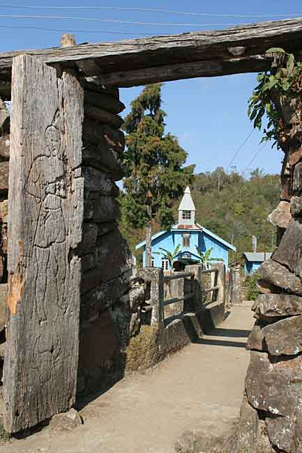 Peren town gate. Churches had to be built outside the town gates.