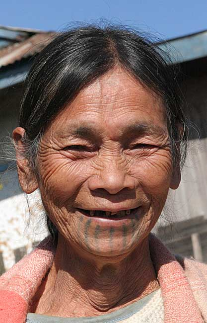 Khiamniungan Naga lady in Nokyan with tattoos.