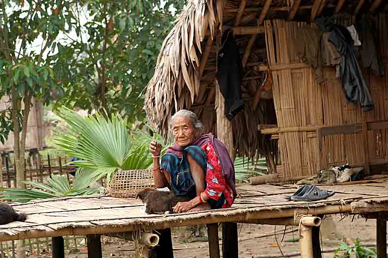 Tangsa lady on her porch