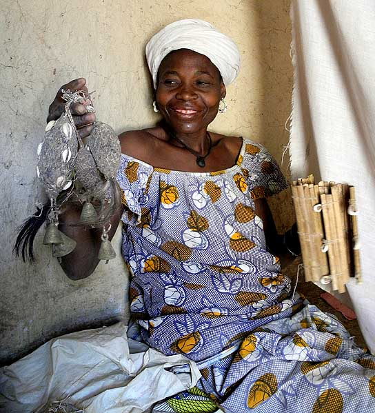 Female soothsayer and healer at Toumousseni (Karaboro tribe), who is possessed by the spirit of a sacred Baobab tree, Burkina