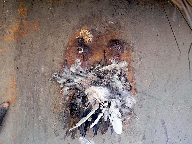 Fétiches sur le mur d´une case à  Wolokonto, Burkina Faso
