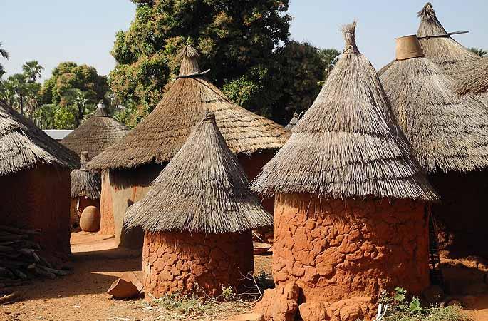 Granaries and huts of Karaboro village Wolokonto, Burkina Faso