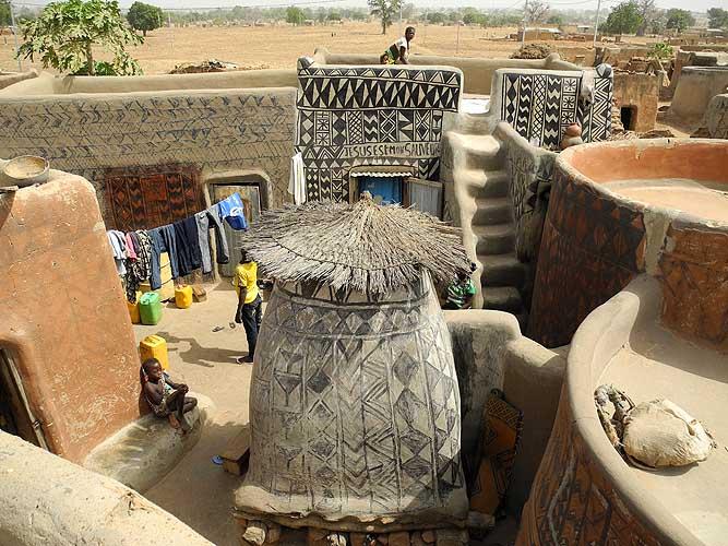 In the royal compound of the Kassena (Gurunsi) village of Tiébélé, Burkina Faso
