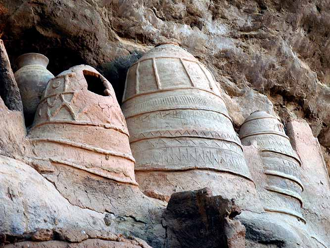 Clay containers for fetishes and masks in the troglodyte village of Niansogoni (Wara), Burkina Faso