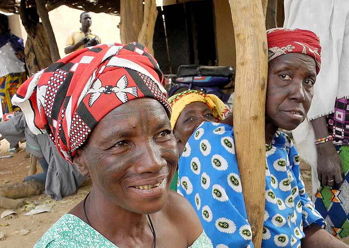 Mossi ladies with tattoos in Kumbili, Burkina Faso
