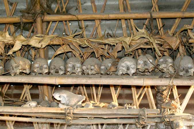 Collection of human skulls in Lapnan