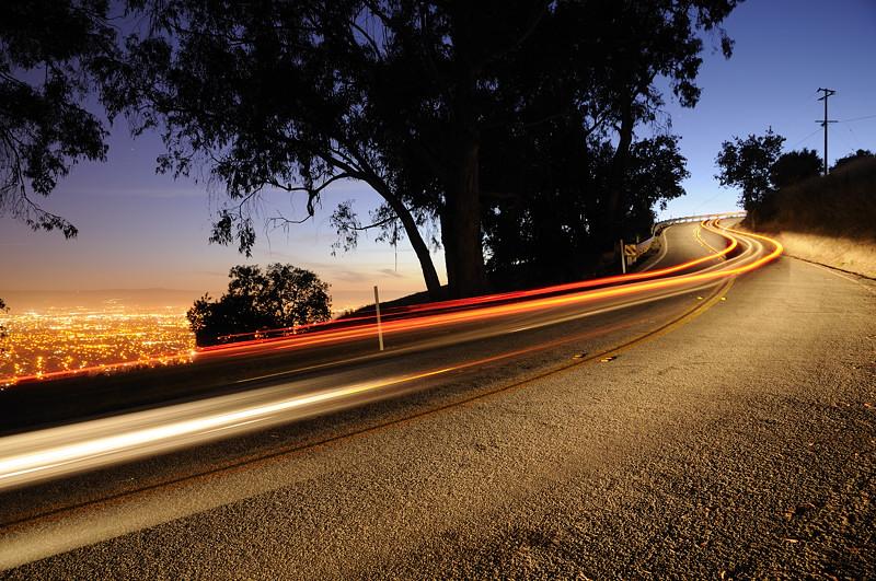 The steep and winding Sierra Road