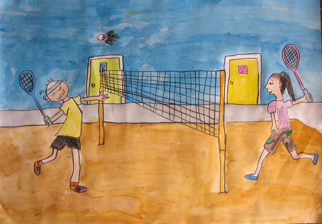 playing badminton, Yuki, age:10