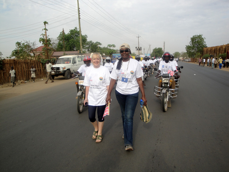 Rene and Immaculate walking for road safety