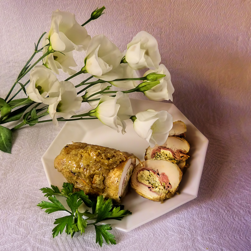 Delicate flowers like delicate roulade of chicken breast...
