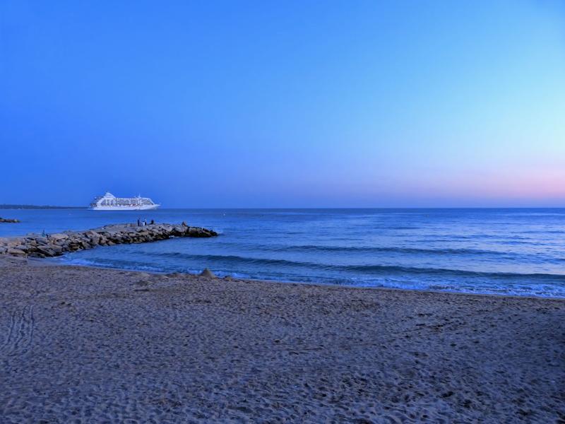Nearly night on the quiet sandy beach...
