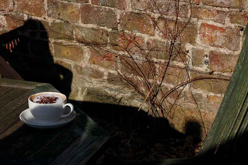 2nd April 2008 <br> frothy coffee outside