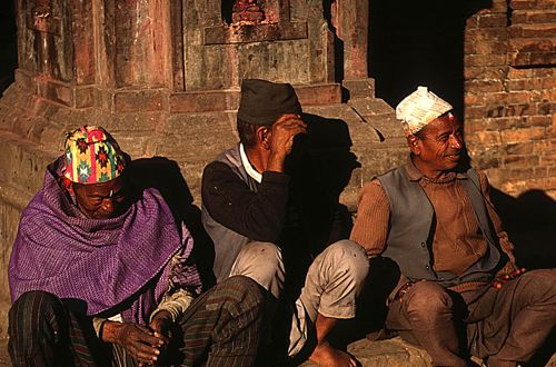 Three old men in Bakhtapur