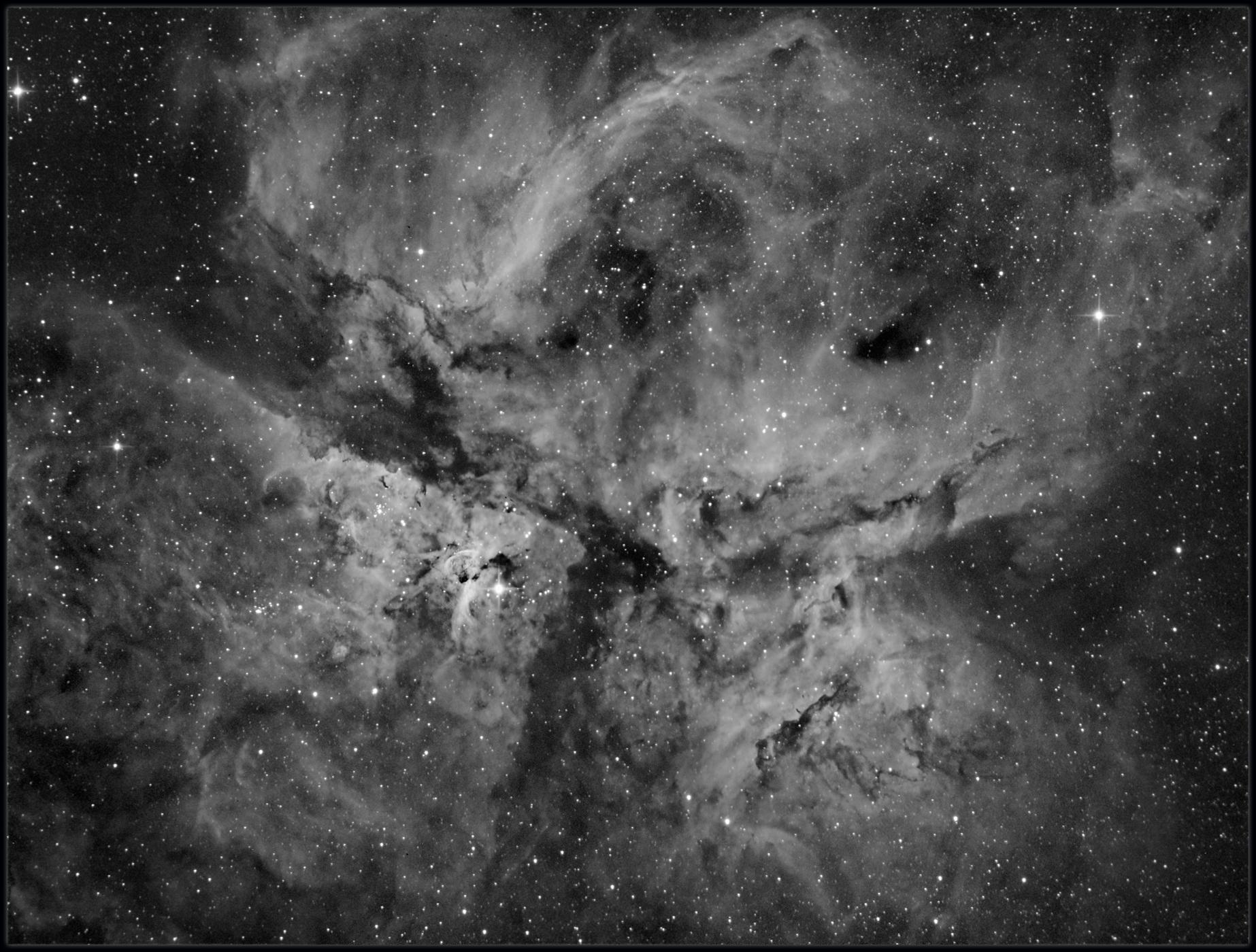 The Carina nebula -Hydrogen Alpha only