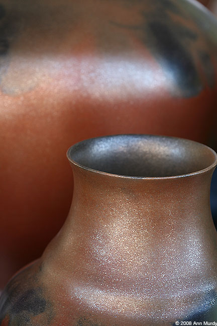 Micaceous pots by Lonnie Vigil