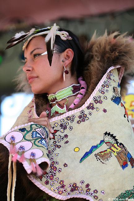 Lady wearing buffalo cape
