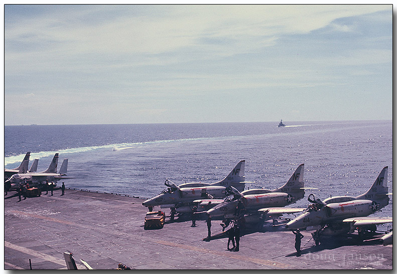 A-4 Skyhawks, destroyer escort behind