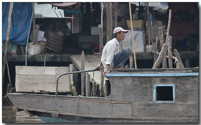 Lone Sailor - Floating Market, Mekong River