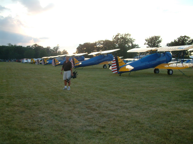 Rick with a row of Stearmans
