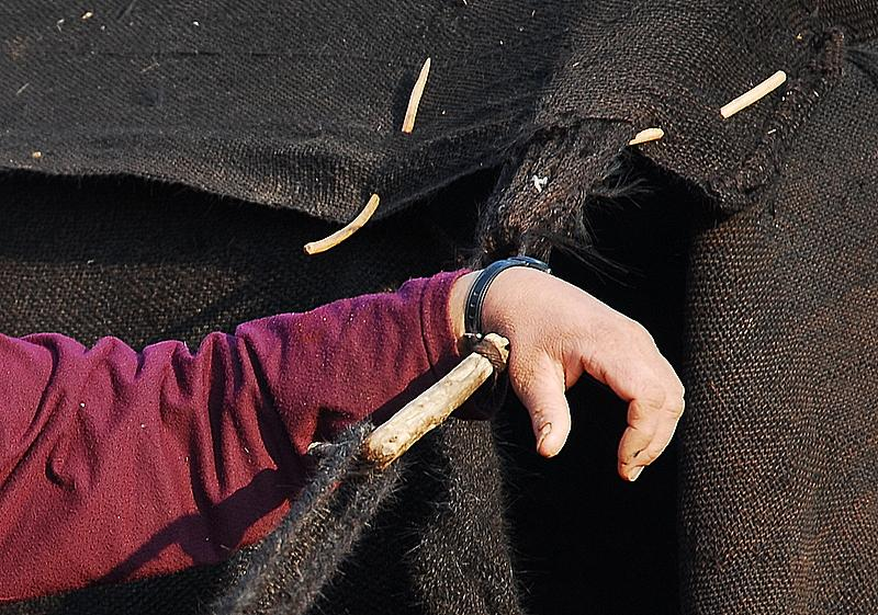 çadir, aðaç iðneleri ve emekçi eller
