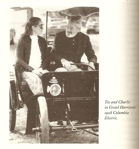 In a 1908 Columbia Electric.  Addams was a car nut.