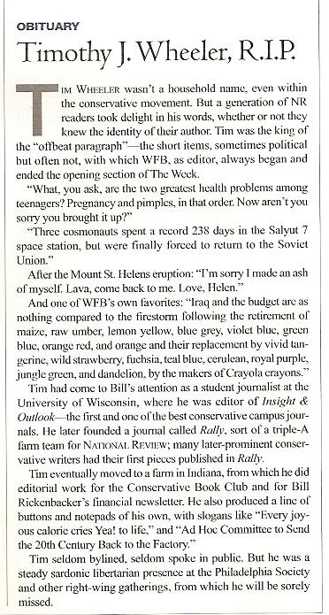 Obituary in the September 10, 2007 issue of National Review