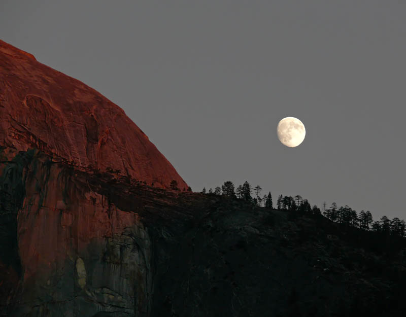 Half Dome, full moon