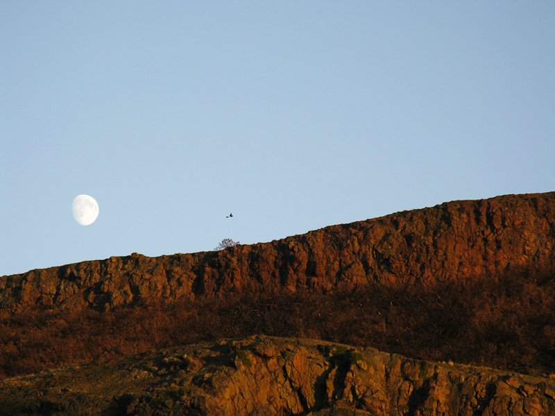 Moon rise over Lang Rigg