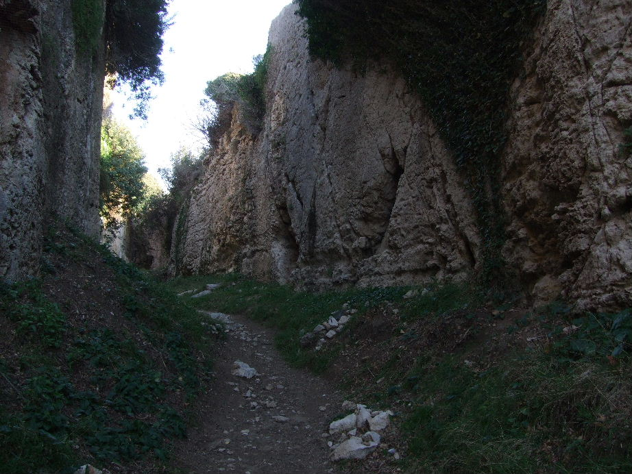 Path to the Tunnel of Titus.  This part is carved out of the rock.