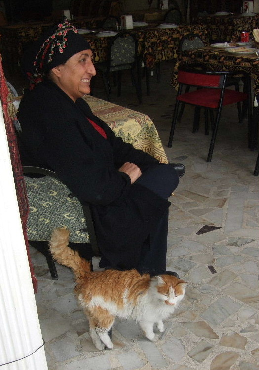 Goreme: Something you wont see in the USA--the restaurant cat (with her owner).