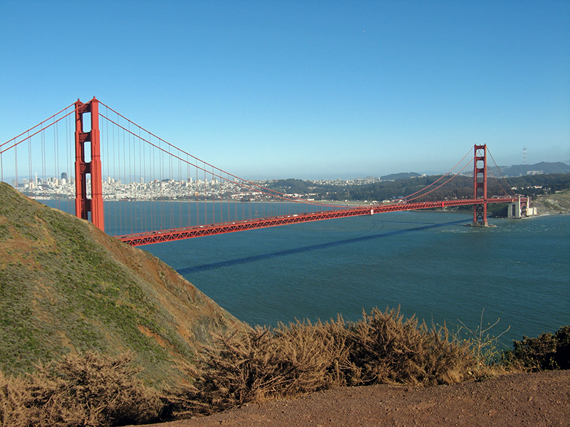 Golden Gate Bridge from Marin County    <br />1800