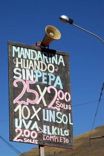 Price list, Puno market