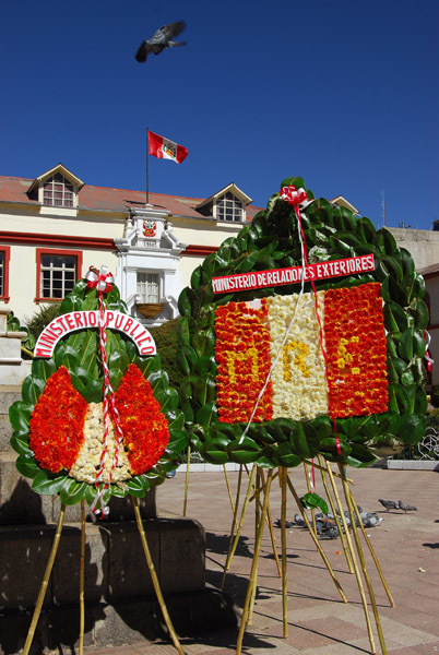 Floral decorations for a public holiday