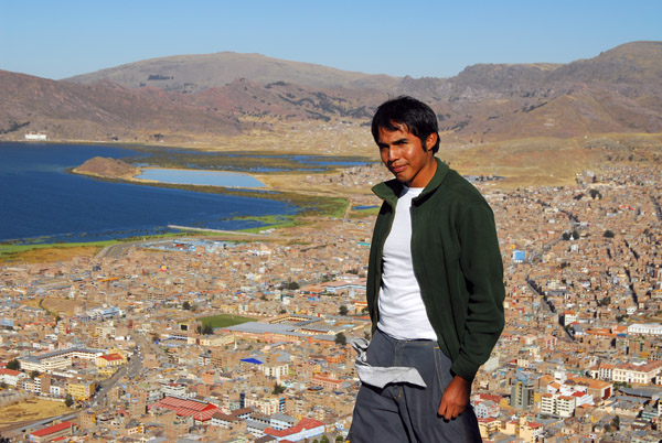 Marcos on Cerro Asogini with Lake Titcaca, Puno