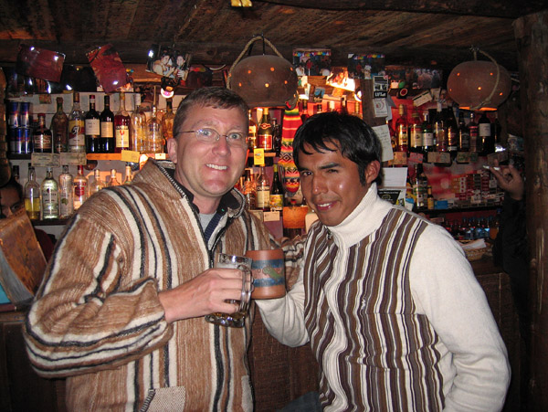 Me in my new sweater and Marcos, Kamizaraky Rock Pub, Puno
