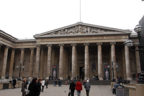 Main entrance of the British Museum with a Greek Revival façade
