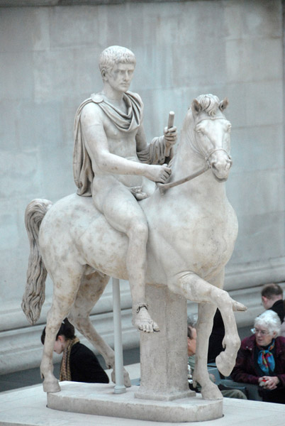 Mounted Roman prince sculpture in the Great Court