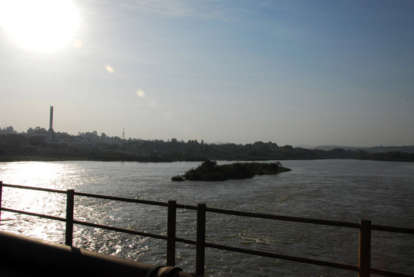 Leaving Bahir Dar crossing the Blue Nile Bridge with the war memorial on the left