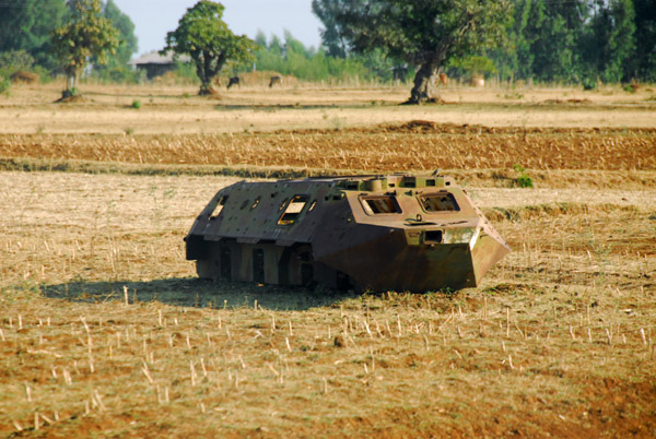 Another shell of a BTR-60 armored personnel carrier destroyed during the Ethiopian civil war