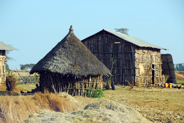 Two styles of rural Ethiopian hut - round and rectangular