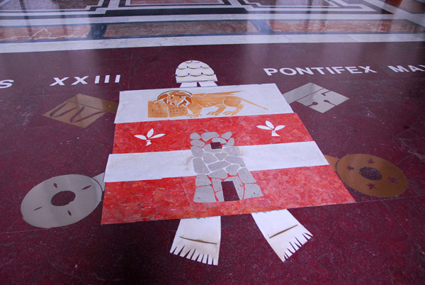 Papal coat-of-arms of Pope John XXIII on the portico floor, St. Peters Basilica