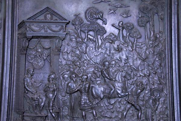 Bronze panel from Filaretes door showing St. Paul sentenced by Nero