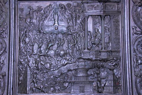 Panel from Filaretes 1445 bronze door showing the Martyrdom of St. Peter