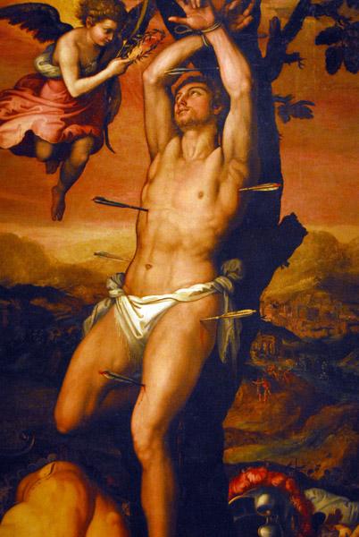 St. Sebastian receives the crown and palm of martyrs, Circle of Girolamo Siciolante da Sermoneta, 16th C.