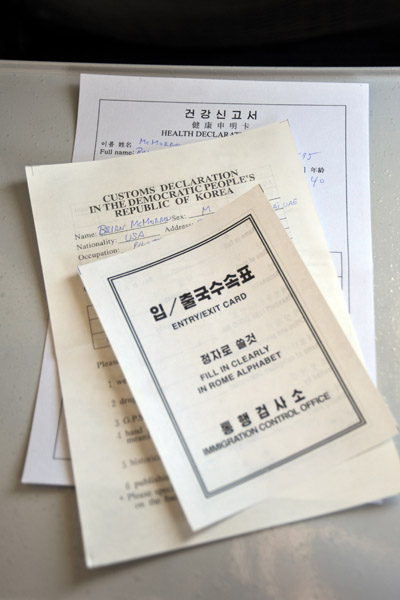 Paperwork for arrival in the DPRK